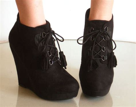 platform wedge lace up booties ankle boot leopard black ebay