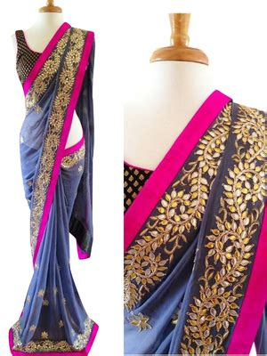Blue Flower Blouse Point One buy blue embroidered georgette saree with blouse