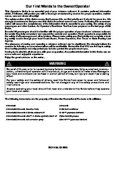 2007 Johnson 9.9 15 hp EL4 4-Stroke Outboard Owners Manual