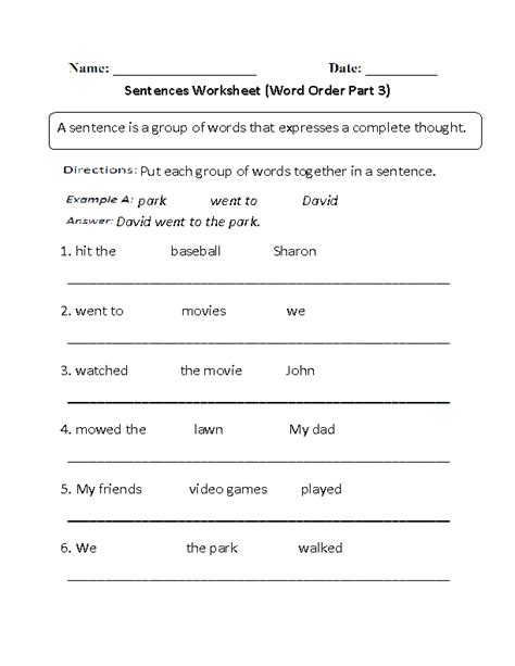 Word Order Worksheets Pdf by Sentences Worksheets Simple Sentences Worksheets