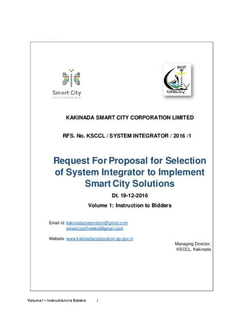 Smart City Kakinada Essay Writing by Request For For Selection Of System Integrator To Implement Smart City Solutions In