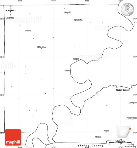 Arkansas County Outline Map by Blank Simple Map Of Mississippi County