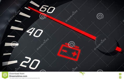 battery light car discharged battery warning light in car dashboard 3d