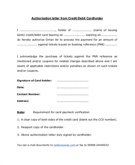 Confirmation Letter For Credit Card Sle Credit Card Authorization Letter 7 Documents In Pdf Word