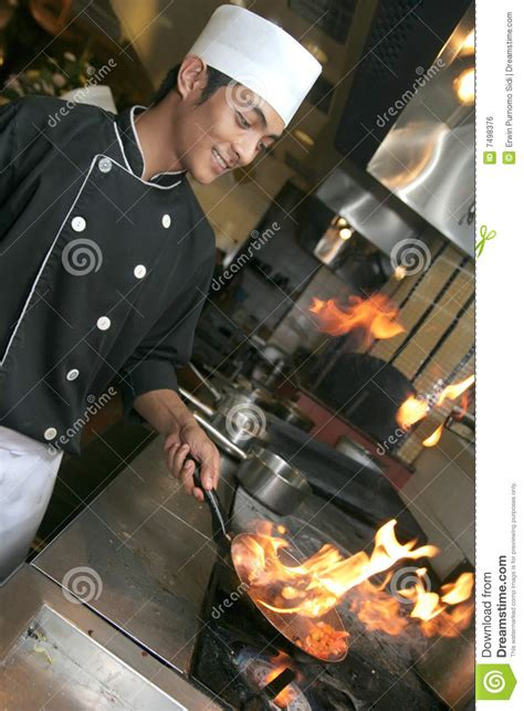 dinner chef chef cooking at dinner royalty free stock image image