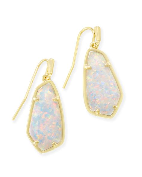 white opal earrings camelia gold drop earrings in white opal kendra scott