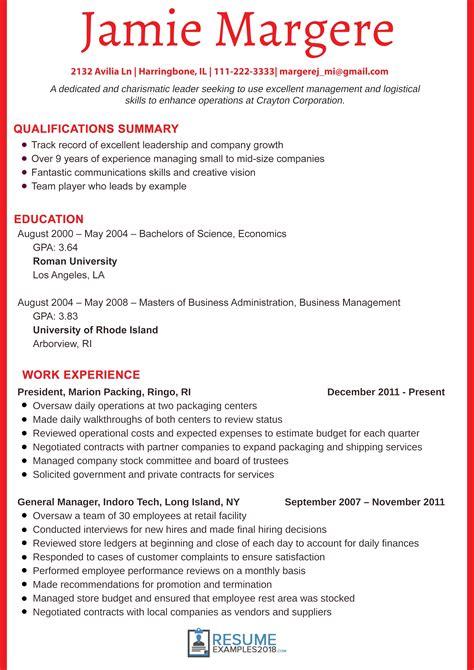great resume sles 2018 management resume exles 2018 gentileforda