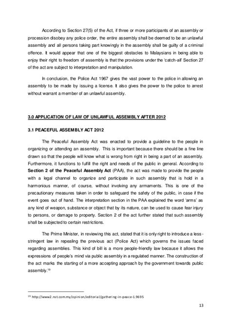 section 27 dispersal order unlawful assembly law in malaysia in regards of peaceful