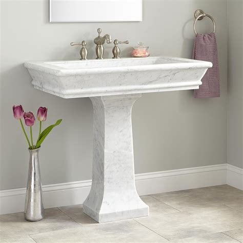 home bathroom pedestal sinks 36 quot polished carrara marble pedestal bathroom sinks