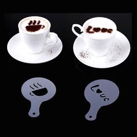 Kopi 16 Pcs jual 16 motif pola cetakan coffee motif hiasan kopi