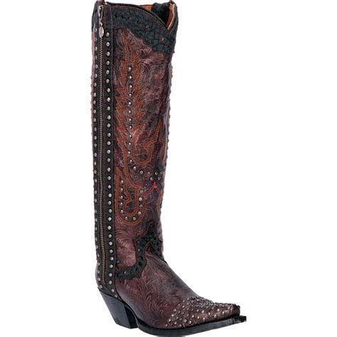 dan post womens burgundy tempted floral leather cowboy