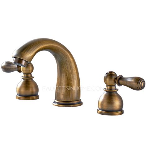 Vintage Bathroom Faucets by Antique Brass Two Handles Wide Spread Three Bathroom Faucets