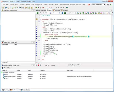 delphi syntax tutorial debugging multithreaded applications with delphi