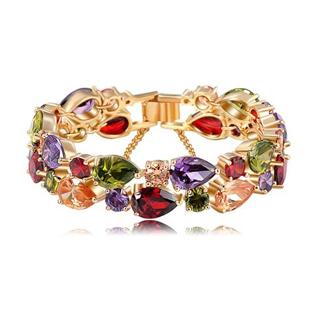 Zircon Aaa 375gram bracelets bangles 2015 new design colorful aaa zircon bracelet 18k gold gold plate
