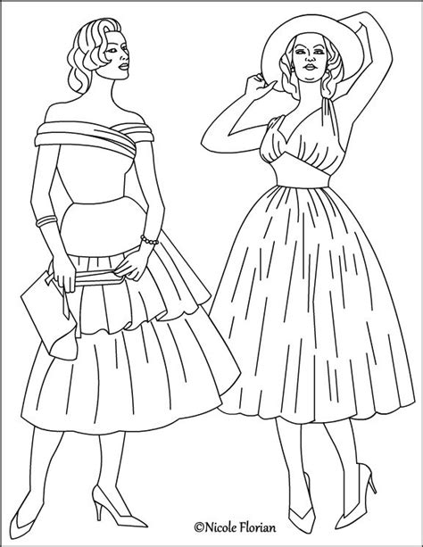 vintage fashion coloring page coloring pinterest