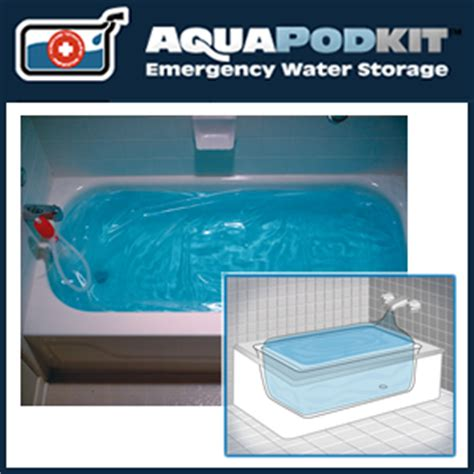 bathtub water storage aquapodkit 174 emergency water reservoir pump for bathtubs