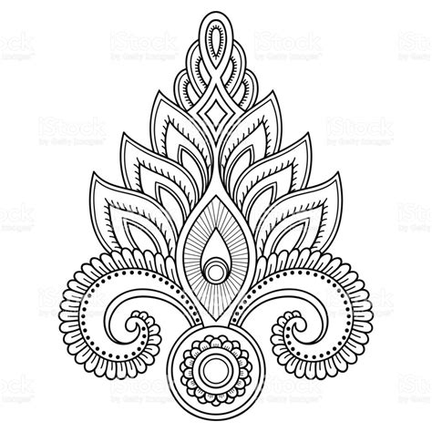 henna tattoo flower template in indian style ethnic floral