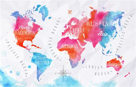 water color map world map posters kinds styles and interesting designs