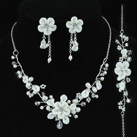 white flower wedding necklace bridal wedding white flower ceramic clay simulated pearl necklace bracelet earrings set