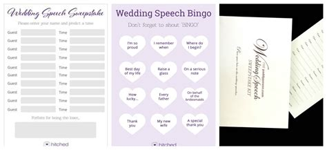 Wedding Speech Sweepstake - ice breakers for wedding guests perfect details