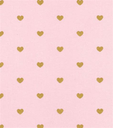 gold heart pattern keepsake calico cotton fabric metallic heart pink gold