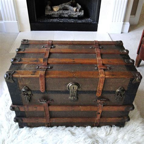 steamer trunk coffee table reserved for eric large antique steamer trunk coffee table