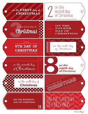 12 days of christmas gift tags printable 12 days of christmas red printable tags the and