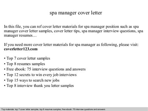 cover letter for spa spa manager cover letter