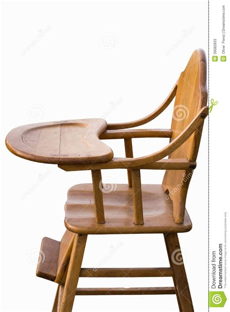 wooden highchair white background stock photo image