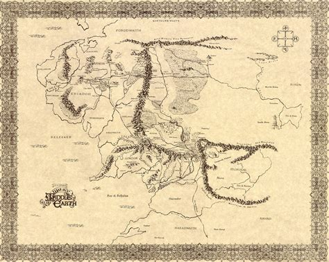 printable map middle earth lord of the rings map