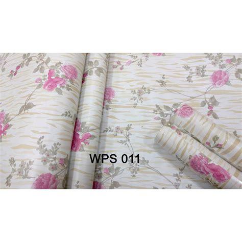 wallpaper dinding shopee meth wallpaper wps011 pink flower n golden motif walpaper