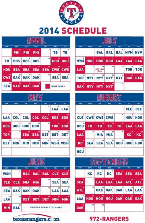 printable rangers schedule fort worth isd 2014 calendar calendar template 2016