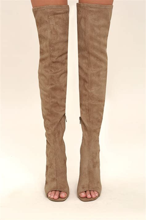 camel thigh high boots steve madden kimmi boots camel suede boots peep toe