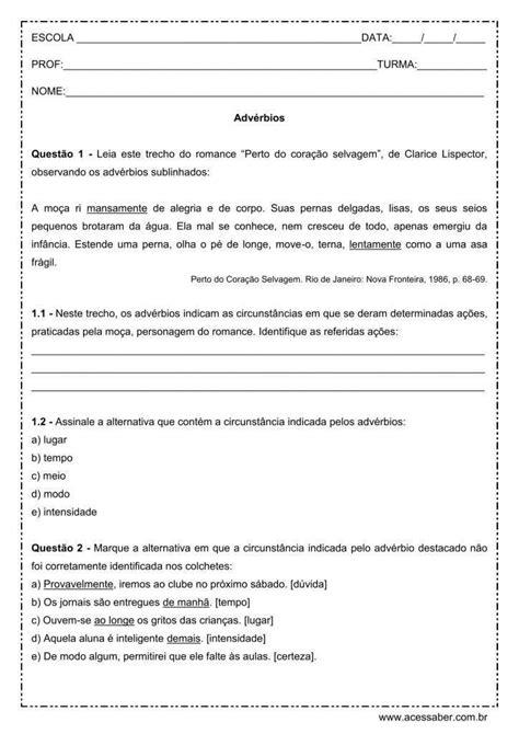 IDEIAS DE ATIVIDADES SOBRE ADVÉRBIOS