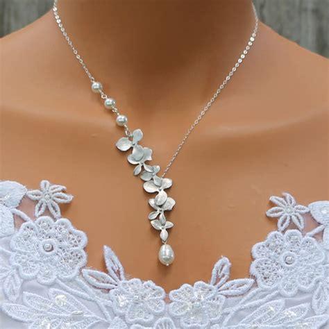 Modeschmuck Hochzeit by Orchidee Halskette Perlenkette Silber Brautjungfern