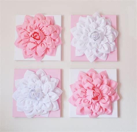 Pink Nursery Wall Decor Nursery Wall Decor Set Of Four Light Pink And White Flower