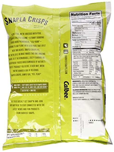 harvest snaps snapea crisps lightly salted harvest snaps snapea original green pea crisps baked and