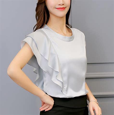 Blouse Motif Unggu Biru Korean Style blouses 2017 summer korean style casual shirt tops clothing solid ruffle design blouse