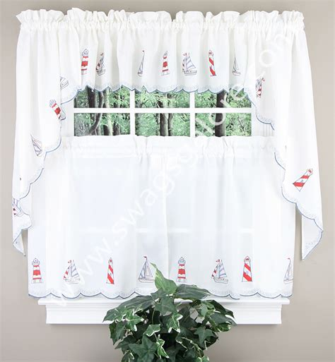 Americana Kitchen Curtains Lighthouse Embroidered Curtains Americana View All Kitchen Curtains