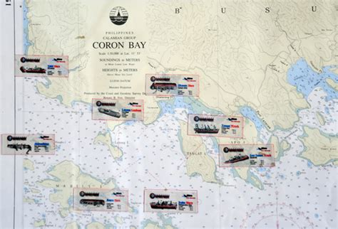 Small Town map showing the site of 8 principal wrecks in coron bay