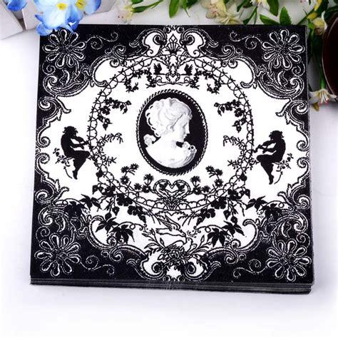 Promo Tissue Decoupage classic black and white paper napkins cafe tissue napkins decoupage decoration