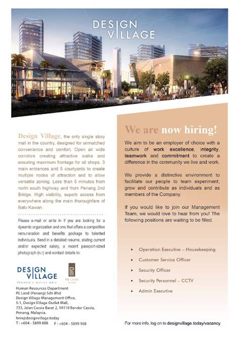layout jobs malaysia design village penang vacancy operation executive