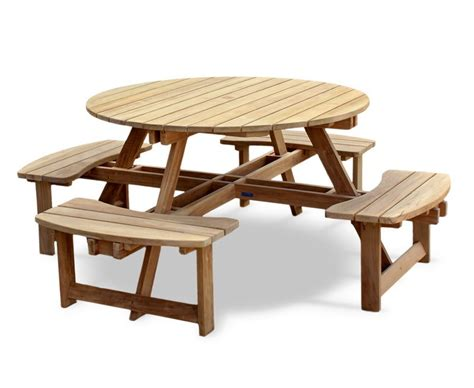 teak round picnic bench circular picnic table