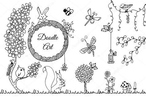 doodle nature vectorillustratie zen wirwar wilde natuur doodle bloemen