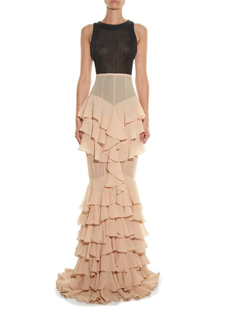 Ruffled Skirt lyst balmain ruffled silk skirt in
