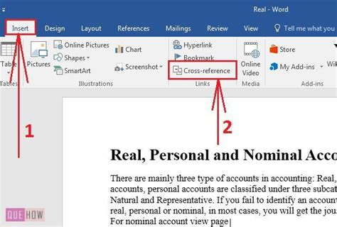 how to create cross reference in ms word 2016 with