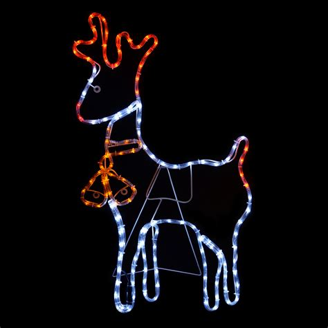 rope lighted christmas deer reindeer with bell rope light silhouette static led decoration