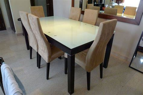 Dining Chairs For Sale Singapore by Tempered Glass Top Extendable Dining Table With 6 Chairs
