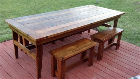 wooden outdoor table with bench seats patio farmhouse design with hardwood floor tiles painted