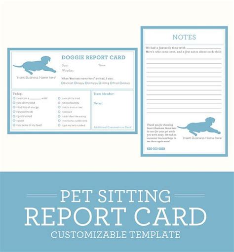 boarding report card template simple clean classic pet sitting report card